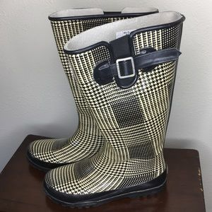 Sperry Top-sider Houndstooth Rubber Rain Boots 8